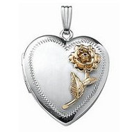 14k White Gold Two-Tone Heart Locket
