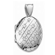 14k White Gold Premium Weight Engraved Diamond Oval Picture Locket