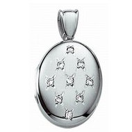 14k White Gold Premium Weight Diamond Oval Picture Locket