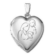 14k White Gold  Mom with Two Daughters   Locket
