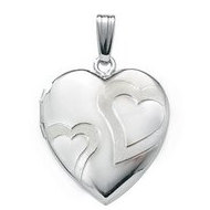 14k White Gold Heart Swirl Locket