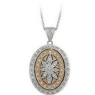 14K White Gold  Two Tone  Oval Diamond Locket