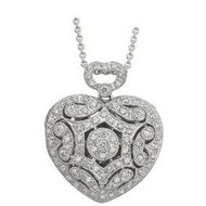 14K White Gold Heart Diamond Locket