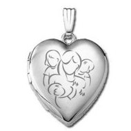 14K White Gold  Mom with Daughter and Two Sons  Locket