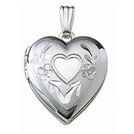 14k White Gold Hand Engraved Heart Picture Locket