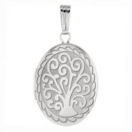 14k White Gold Tree of Life Oval Locket