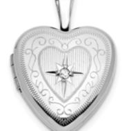 14K White Gold Heart Shaped Locket W/Diamond