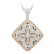 14K White Gold (Two Tone) Diamond Shape Diamond Locket