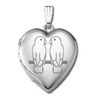"14k White Gold Sweetheart ""Lovebirds""  Locket"