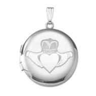 14k White Gold Round Celtic Claddagh Locket