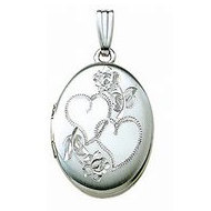 14k White Gold Hand Engraved Oval Picture Locket