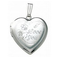 14k White Gold I Love You Heart Locket