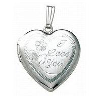 14k White Gold I Love You Heart Locket