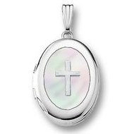 14k White Gold  Oval Mother of Pearl Cross Locket