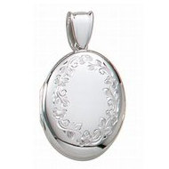14k White Gold Premium Weight Hand Engraved Oval Picture Locket