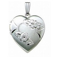 14k White Gold Engraved Heart Locket