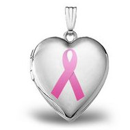 14K White Gold  Breast Cancer Awareness  Heart Locket