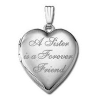 "14k White Gold "" A Sister is a Forever Friend ""  Hearts Locket"