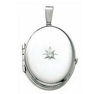 14K White Gold Oval   Diamond Four Photo Locket