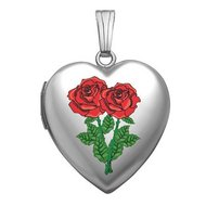 14k White Gold Sweetheart  Roses  Locket