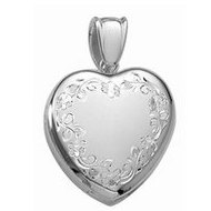 14k White Gold Premium Weight Hand Engraved Heart Locket