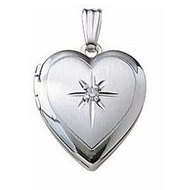14k White Gold Heart Locket w  Genuine Diamond