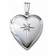 14k White Gold Heart Locket w/ Genuine Diamond