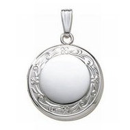 14k White Gold Round Picture Locket