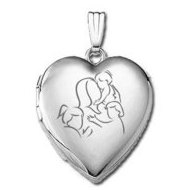 14k White Gold  Mom with Three Daughters   Locket