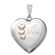 "14k White Gold ""I Love You"" Heart Locket"