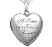 Sterling Silver   A Sister is a Forever Friend   Heart Locket