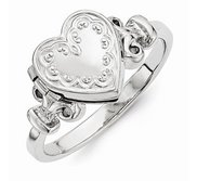 Sterling Silver Embossed Heart Ring Locket