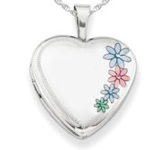 Childrens Sterling Silver Enameled Flower Heart Locket