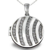 Premium Heavy Weight Sterling Silver Round Locket W  Cubic Zirconia
