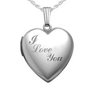 Sterling Silver Sweetheart  I love You  Heart Locket