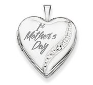 Sterling Silver   1st Mother s Day   Crystal Heart Locket