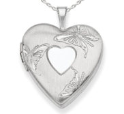 Sterling Silver Butterfly Heart Locket