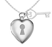 Sterling Silver Heart Locket and Key