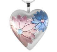 Sterling Silver Heart  Flower   Locket with Pink and Blue Enamel