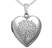 Sterling Silver   Family Tree   Heart Locket