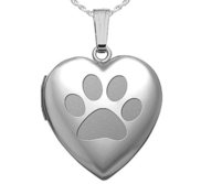 Sterling Silver Dog Paw Heart Locket