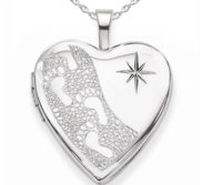 Sterling Silver Footprints Locket w  Starburst Heart Locket