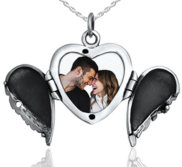 Sterling Silver Angel Wing Heart Locket