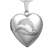 Sterling Silver  Dolphin  Heart Locket