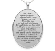 Sterling Silver Oval  Lord s Prayer   Picture Locket