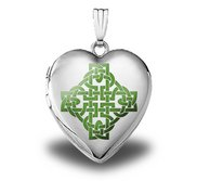 Sterling Silver  Color Celtic Knot   Heart Locket