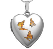 Sterling Silver Butterfly Enameled Locket