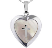 Sterling Silver Heart Mother of Pearl Cross Locket