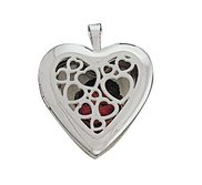 Sterling Silver Heart See Hearts Pattern Locket