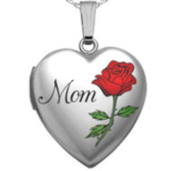 Sterling Silver Mothers Day  Mom  Heart Locket